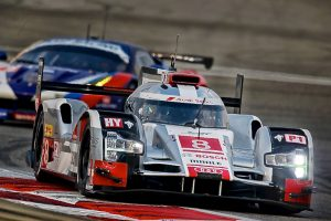 08 DUVAL Loic (FRA) DI GRASSI Lucas (BRA) JARVIS Oliver (GBR) AUDI R18 ETron Quattro team Audi Sport Joest action during the 2015 FIA WEC World Endurance Championship, 6 Hours of Bahrain from November 19th to 21th 2015, at International Circuit of Sakhir. Photo Clement Marin / DPPI